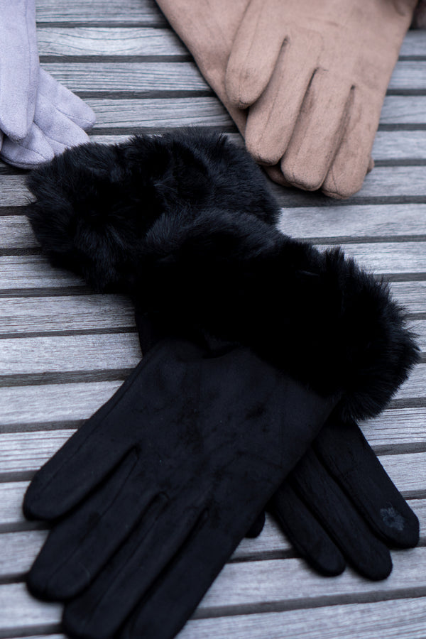 Faux Fur Gloves In Black