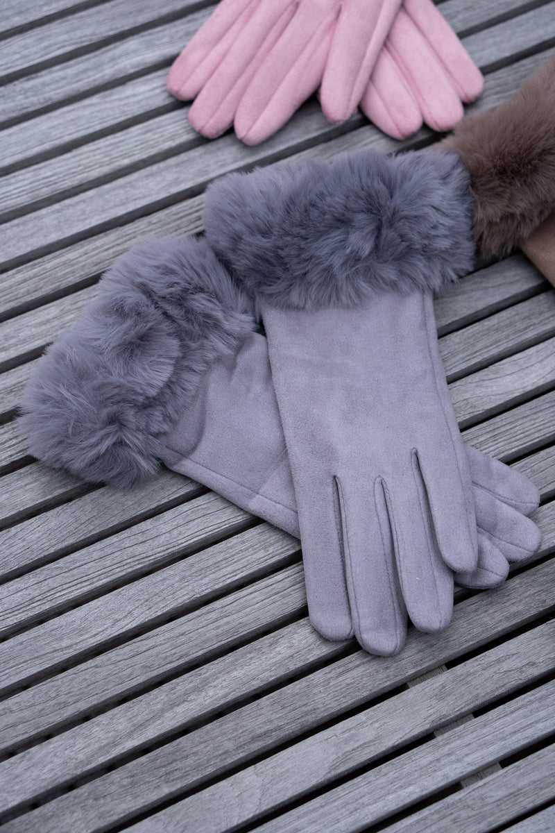 Faux Fur Gloves In Grey