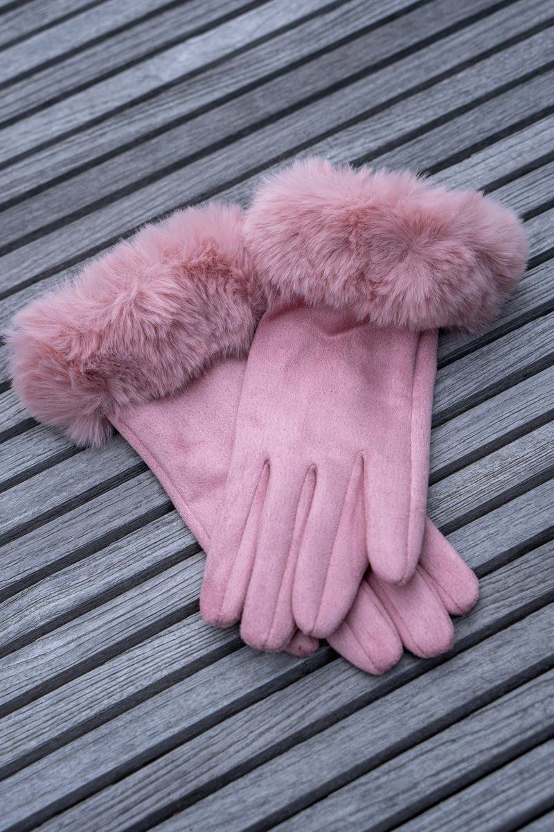 Faux Fur Gloves In Light Pink