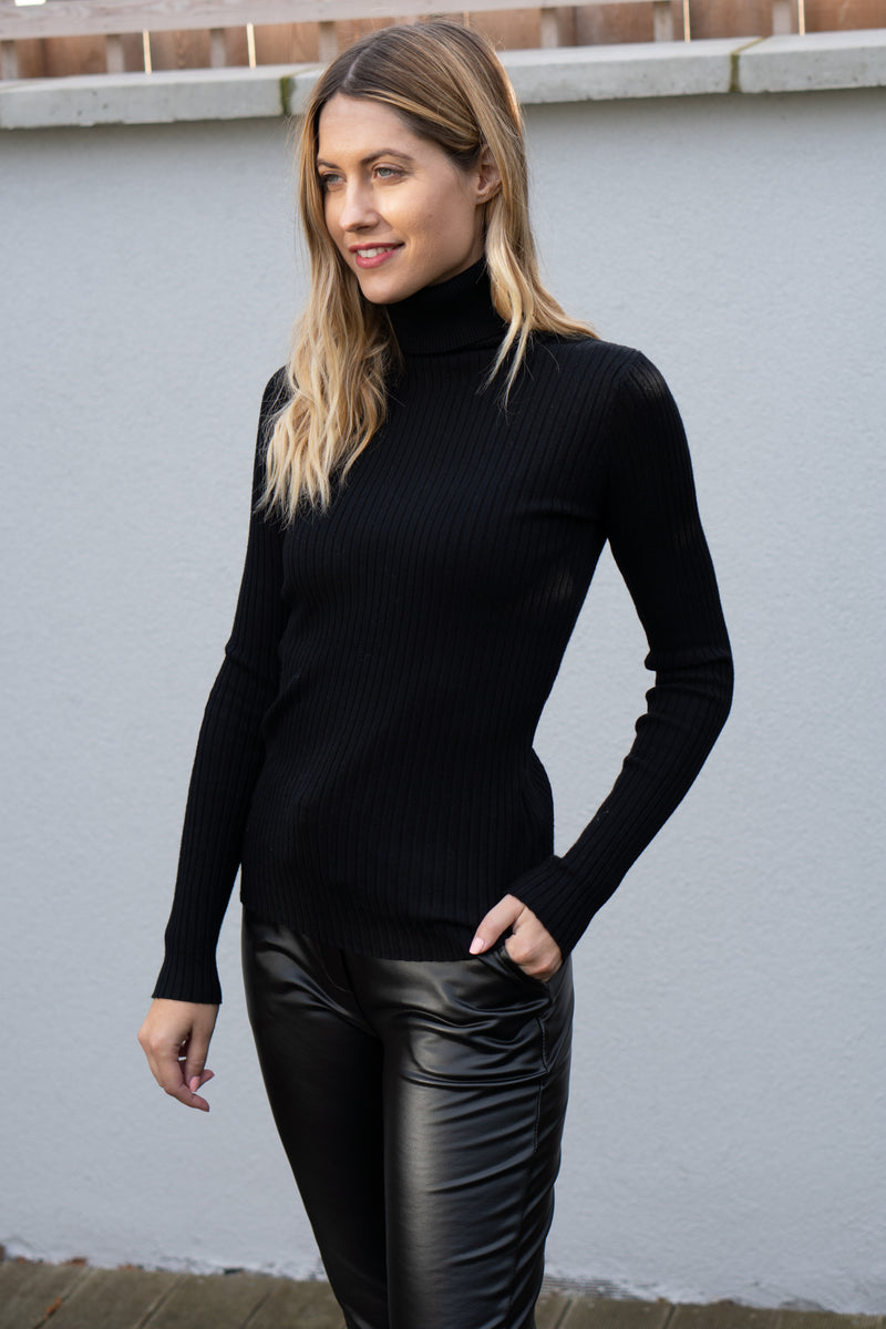 Fitted Ribbed Roll Neck Jumper In Black