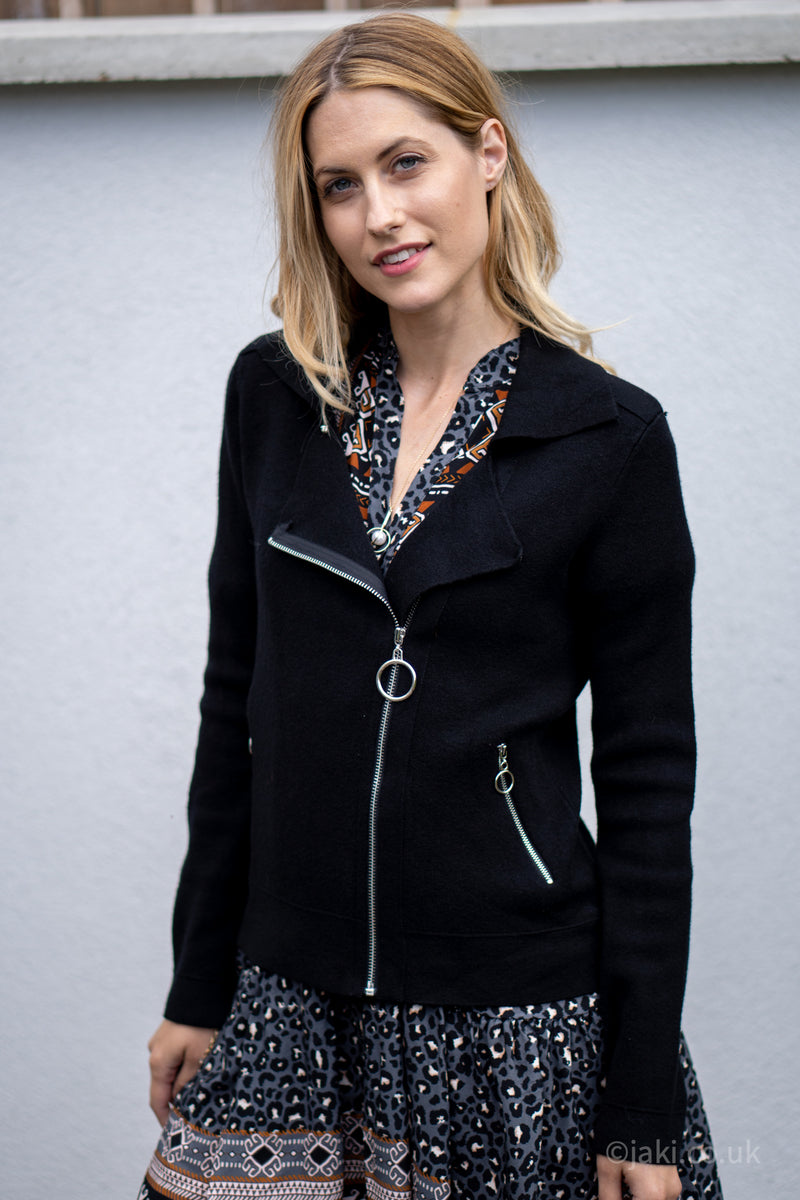 Biker Cardigan in Black