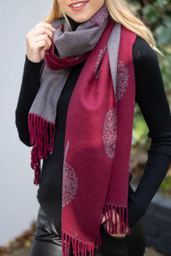 Cashmere Blend Tree Pattern Scarf In Burgundy