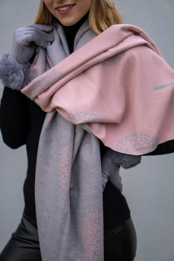 Cashmere Blend Tree Pattern Scarf In Light Pink