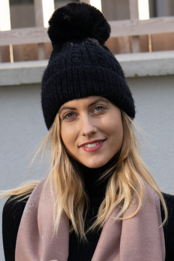 Cable Knit Faux Fur Bobble Hat In Black
