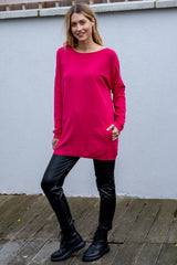 Oversized Pearl Button Jumper In Fuchsia