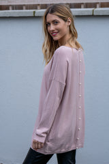 Oversized Pearl Button Jumper In Light Pink