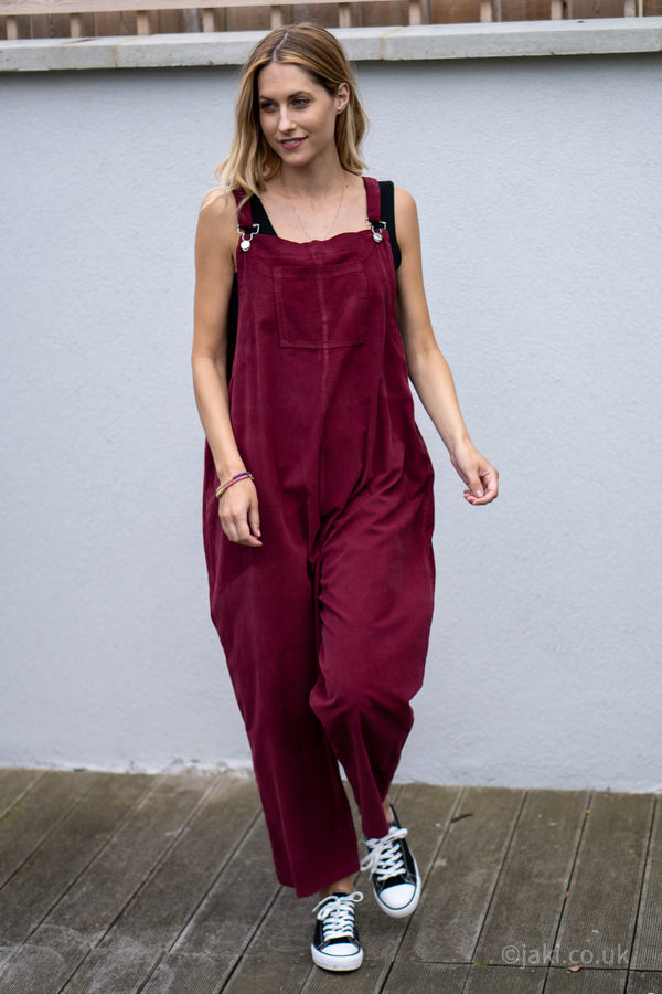 Corduroy Buckle Up Dungarees in Burgundy