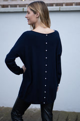 Oversized Pearl Button Jumper In Navy