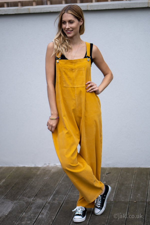 Corduroy Buckle Up Dungarees in Mustard