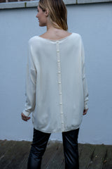 Oversized Pearl Button Jumper In Cream