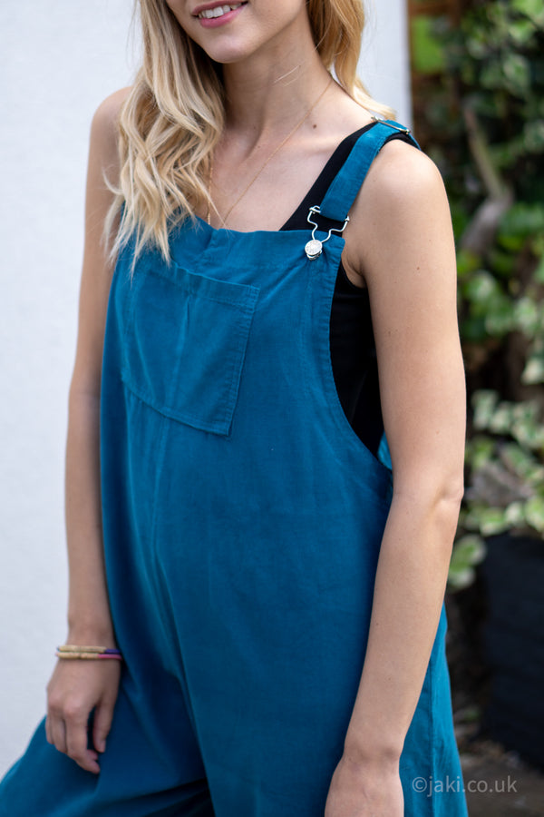 Corduroy Buckle Up Dungarees in Teal