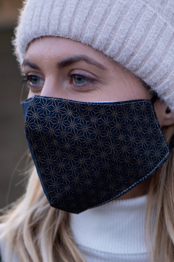 Cotton Face Covering In Navy/Gold
