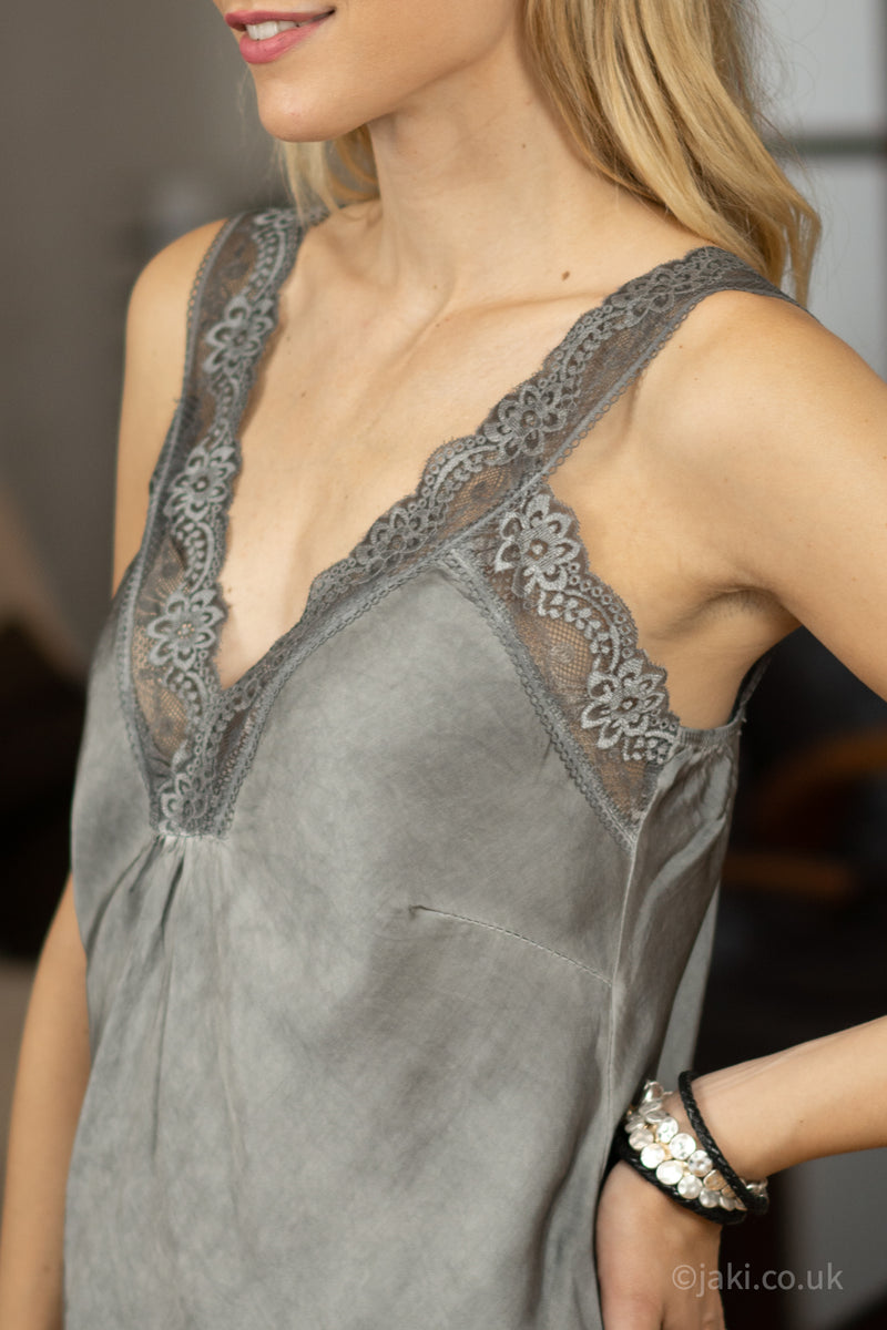 Lace Cami Vest in Grey