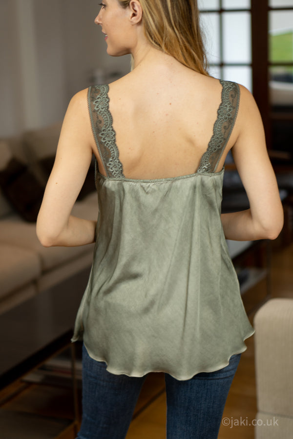 Lace Cami Vest in Khaki