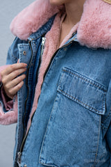 Oversized Faux Fur Denim Jacket in Blue/Pink