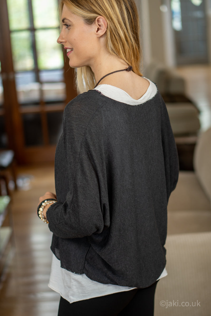 Double Layer Top with Necklace in Black