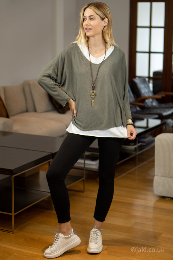 Double Layer Top with Necklace in Khaki