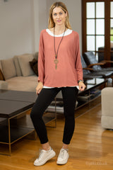 Double Layer Top with Necklace in Red Clay
