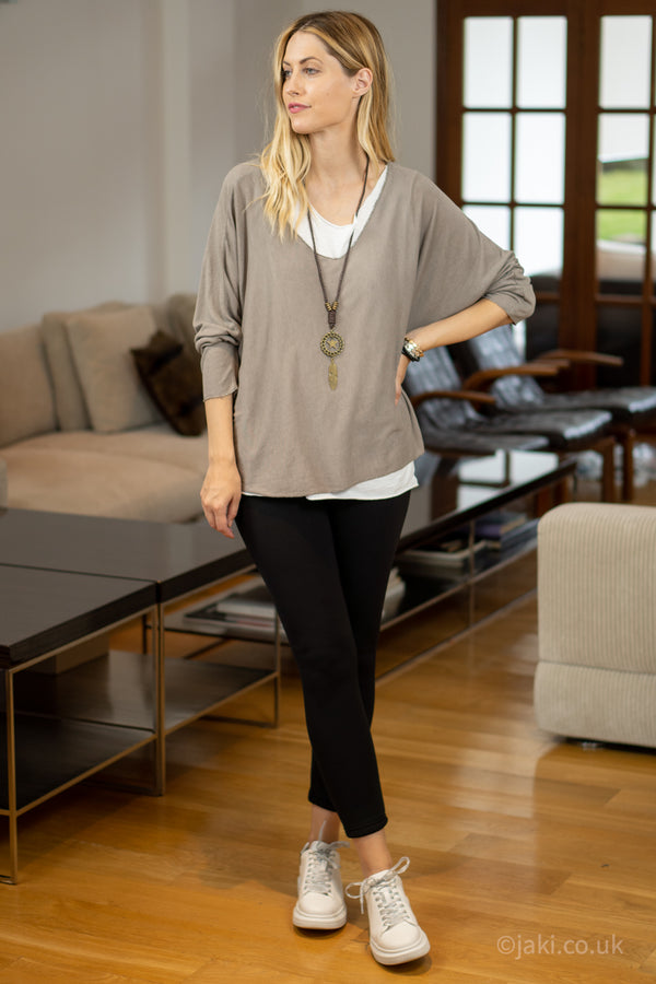 Double Layer Top with Necklace in Beige