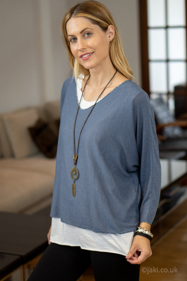 Double Layer Top with Necklace in Denim Blue