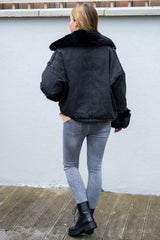 Oversized Faux Fur Denim Jacket in Black