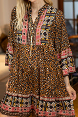 Mila Border Leopard Print Smock Dress in Camel/Fuchsia