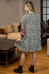 Mila Border Leopard Print Smock Dress in Off White/Fuchsia