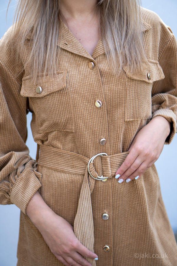 Cord Belted Shirt in Camel
