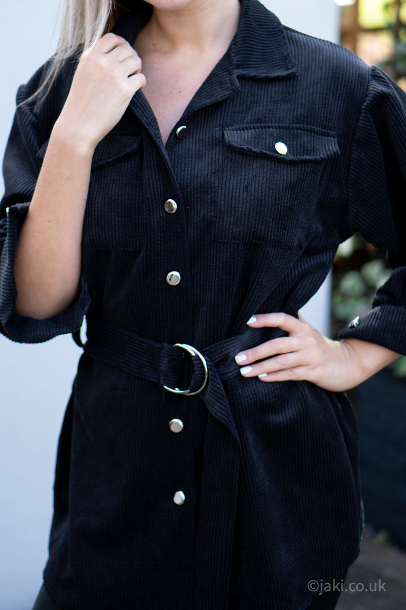 Cord Belted Shirt in Black