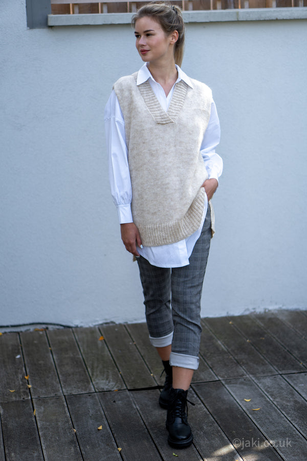 Knitted Vest and Oversized Shirt Set in Light Beige