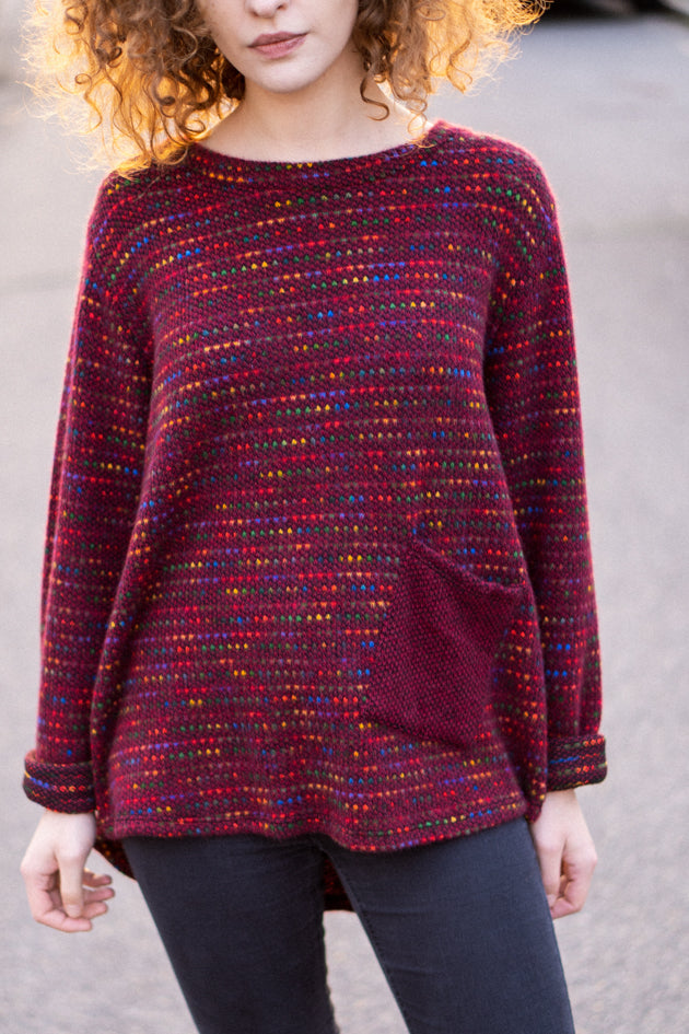 Flecked Pocket Jumper in Burgundy