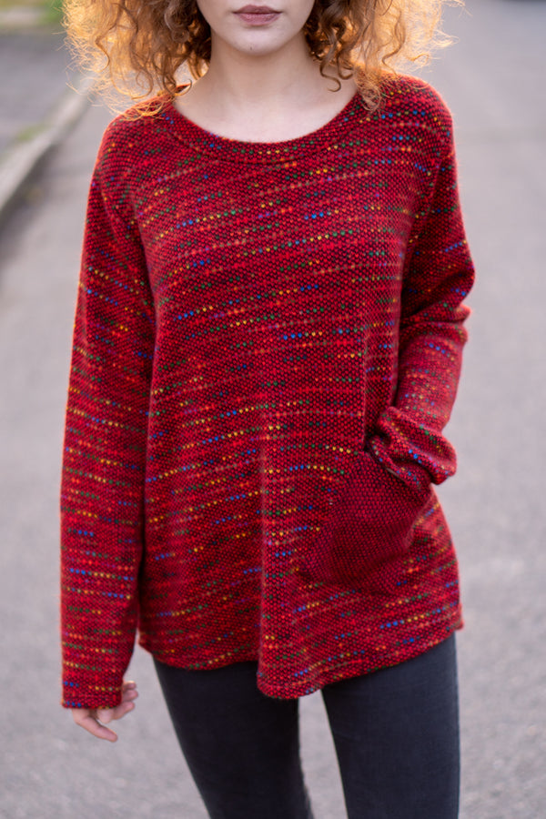 Flecked Pocket Jumper in Red