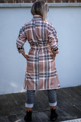 Check Belted Coat in Beige
