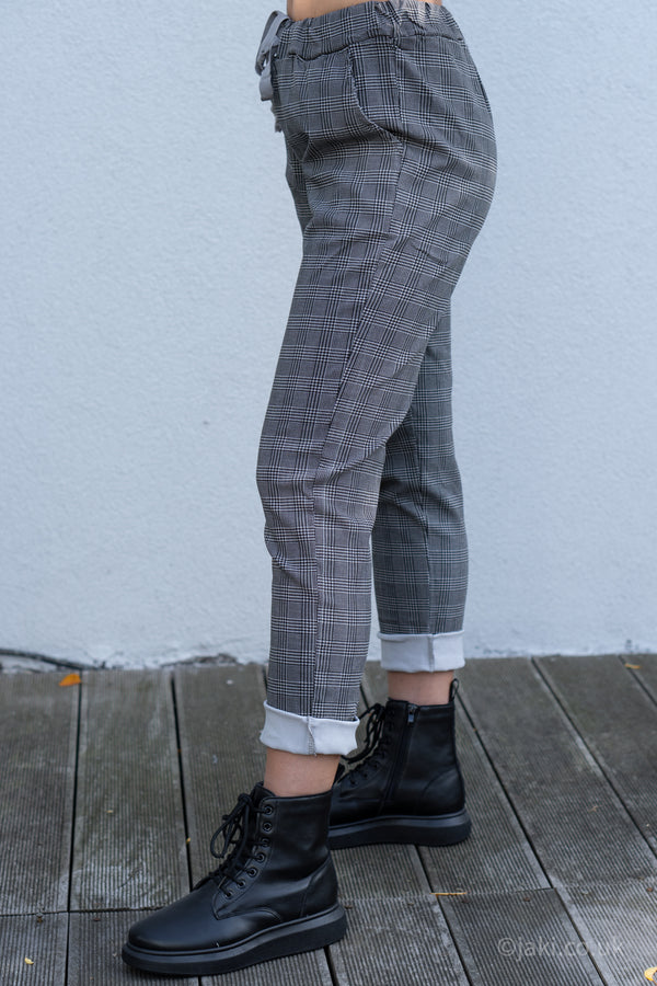 Prince of Wales Check Drawstring Trousers in Light Grey