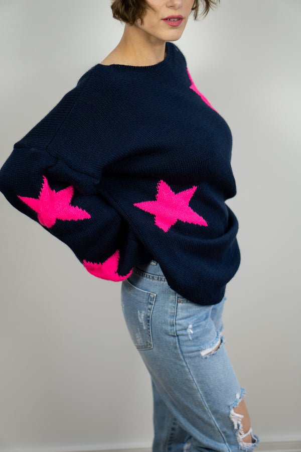 Slouchy Star Jumper In Navy/Fuchsia