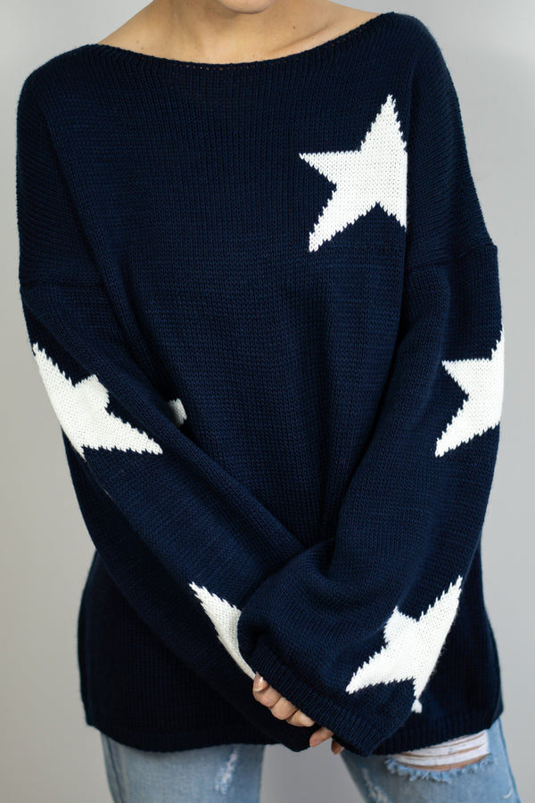 Slouchy Star Jumper In Navy/White