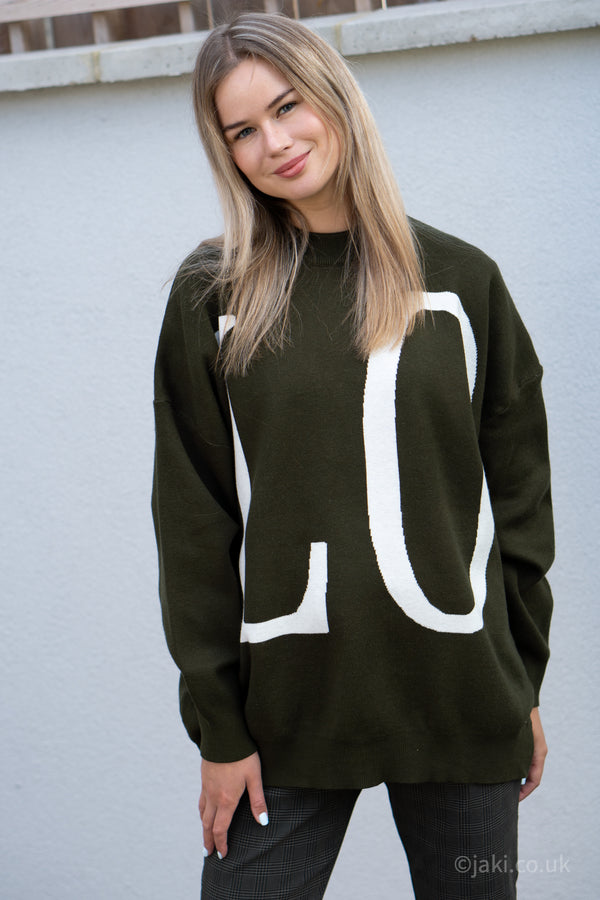 Love Oversized Knitted Jumper In Khaki
