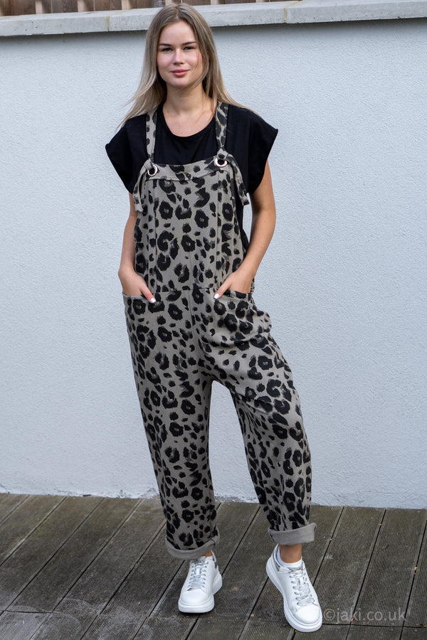 Leopard Jersey Cotton Slouchy Dungarees in Olive