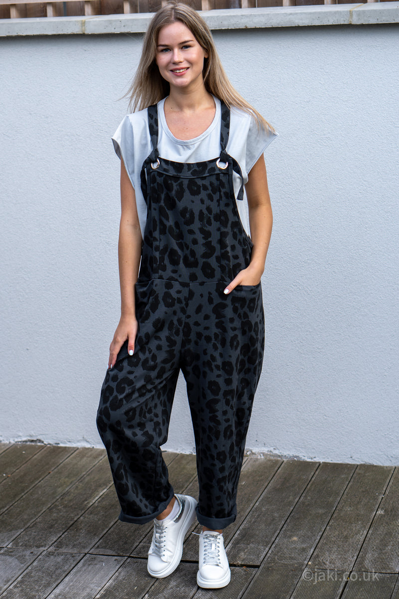 Leopard Jersey Cotton Slouchy Dungarees in Dark Grey