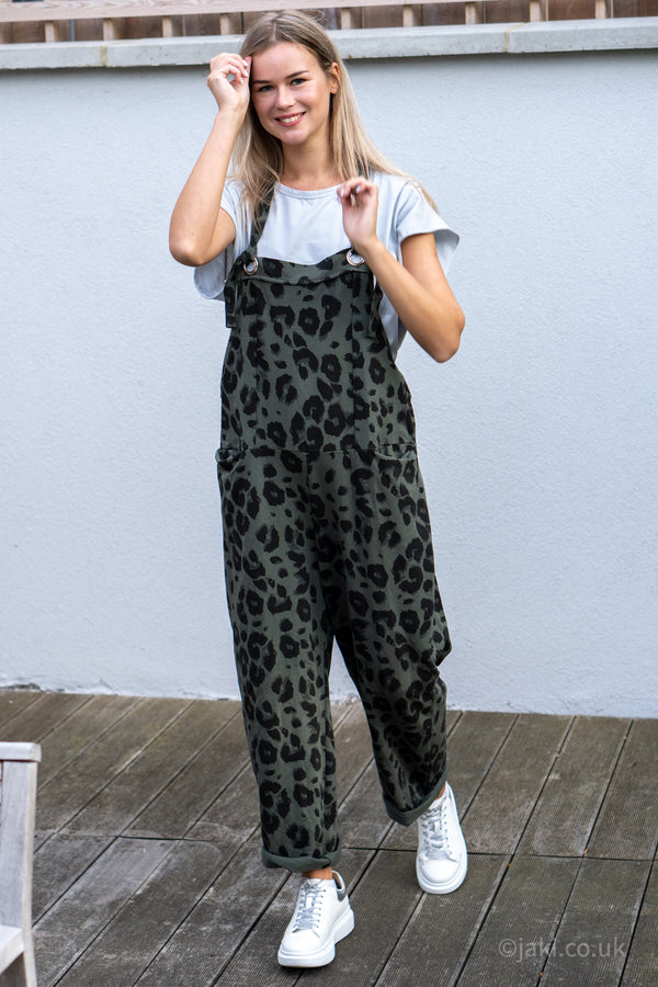 Leopard Jersey Cotton Slouchy Dungarees in Khaki