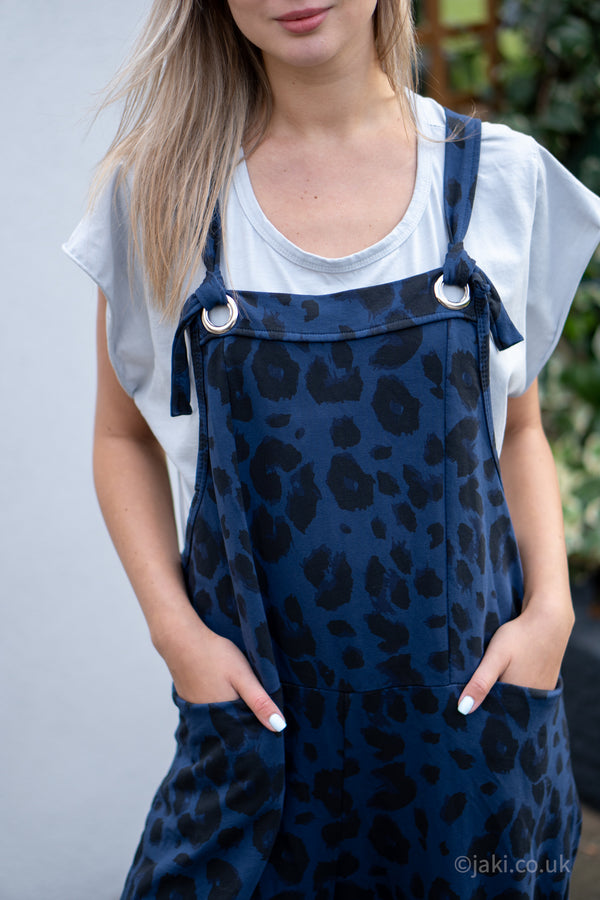 Leopard Jersey Cotton Slouchy Dungarees in Navy