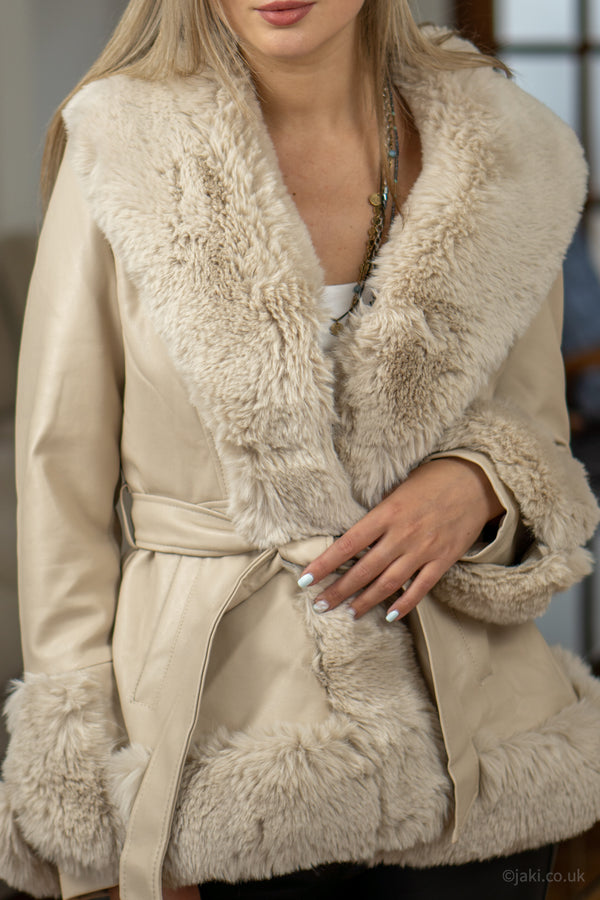 Faux Leather & Faux Fur Jacket in Cream