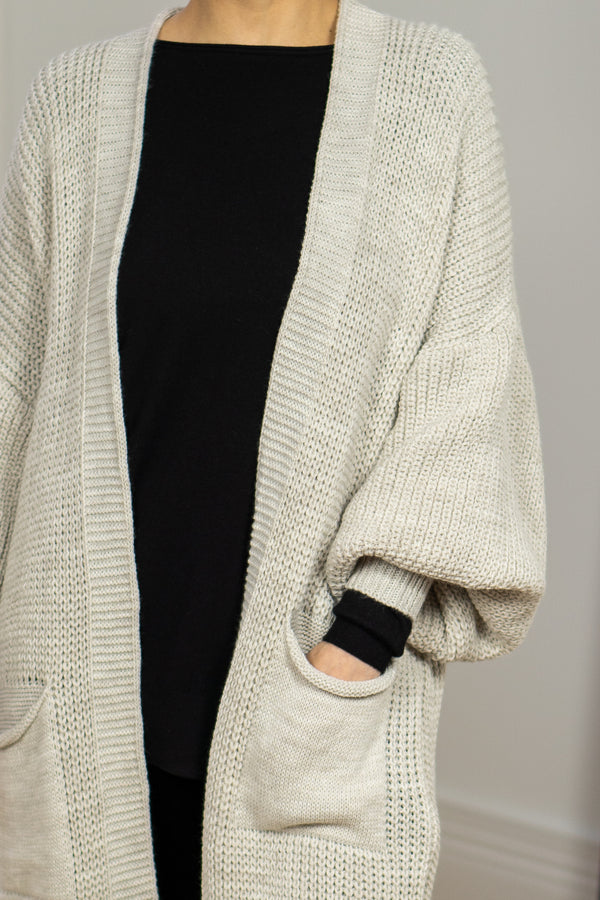 Longline Slouchy Cardigan In Light Beige