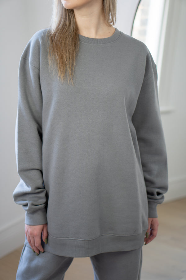Warm Fleece Sweatshirt In Grey