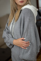 Ribbed Knit Sweatshirt in Light Grey