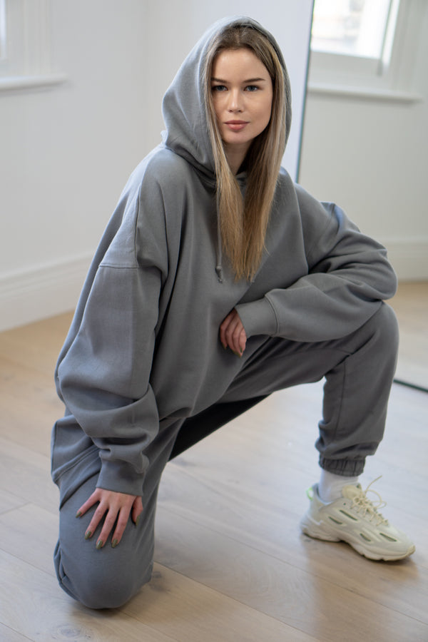 Warm Fleece Longline Hoodie In Grey