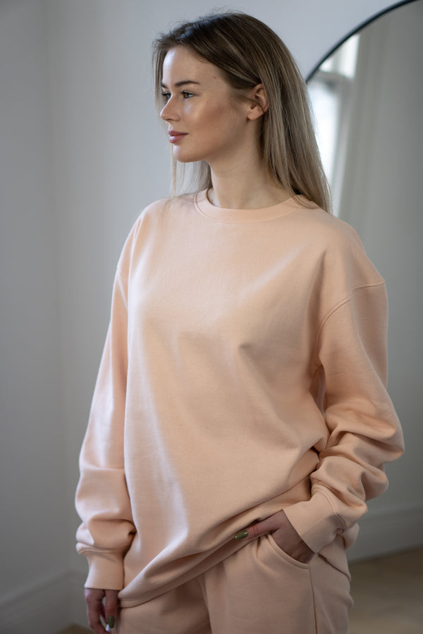 Warm Fleece Sweatshirt In Blush