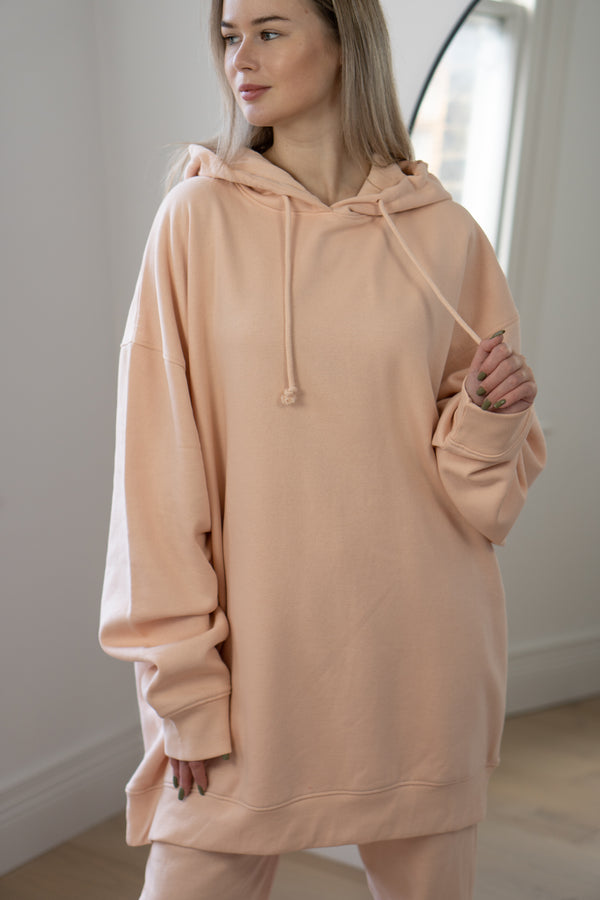 Warm Fleece Longline Hoodie In Blush