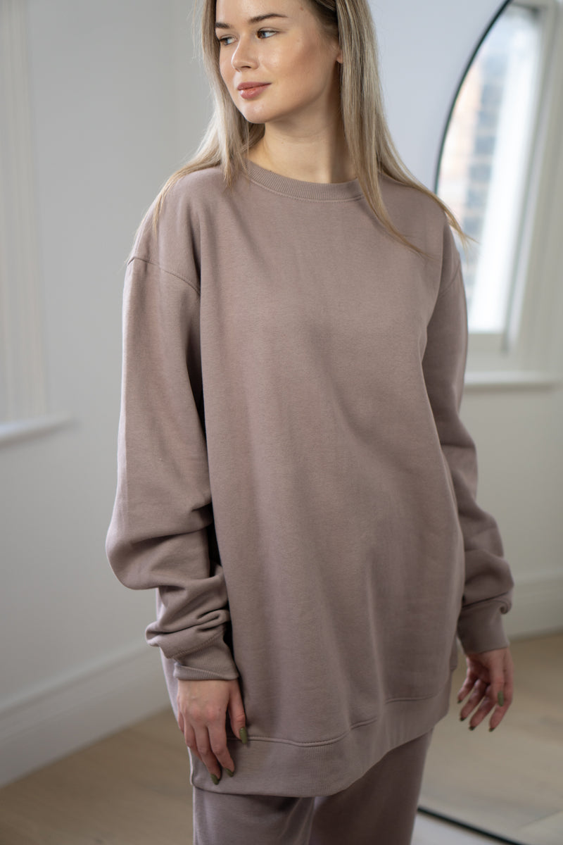 Warm Fleece Sweatshirt In Mauve