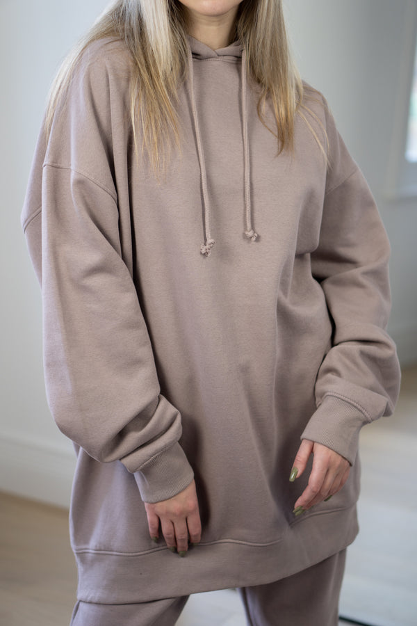 Warm Fleece Longline Hoodie In Mauve